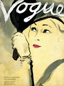 """Vogue Cover - February 1932 by Carl """"Eric"""" Erickson"""