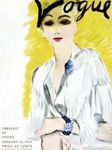 """Vogue Cover - January 1934 by Carl """"Eric"""" Erickson"""
