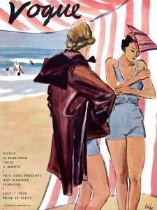 """Vogue Cover - July 1934 by Carl """"Eric"""" Erickson"""