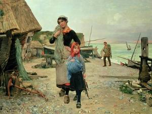 Fisherfolk Returning with Their Nets, 1882 by Carl Frederic Aagaard