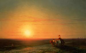 Peasants Returning from the Fields at Sunset by Carl Frederic Aagaard