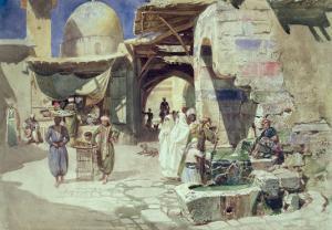 An Arab Street Scene by Carl Friedrich Heinrich Werner