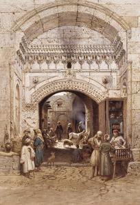 Arabs in an Alley, Cairo by Carl Friedrich Heinrich Werner