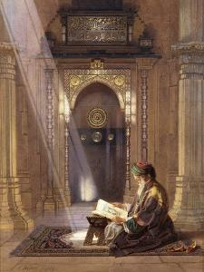 In the Mosque, (Watercolour Heightened with White and Touches of Gum Arabic 63) by Carl Friedrich Heinrich Werner