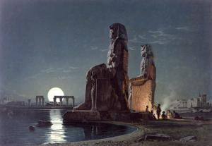 The Colossi of Memnon, Thebes, c.1872 by Carl Friedrich Heinrich Werner