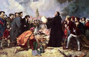 Martin Luther Burning the Papal Bull by Carl Friedrich Lessing