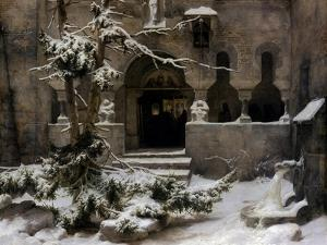 Monastery Garden in Snow by Carl Friedrich Lessing