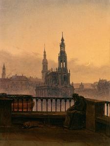 Blick Auf Dresden Mit Mondsichel by Carl Gustav Carus