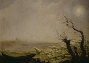 Boat caught in ice floes by Carl Gustav Carus