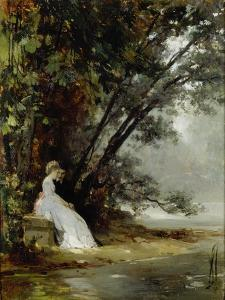 Couple in Landscape of Park, (The Artist and His Bride), before 1865 by Carl Gustav Carus