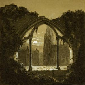 Gothic cathedral seen through ruins of a castle. Black chalk, white wash (around 1852). by Carl Gustav Carus