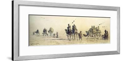 A Caravan of Bedouin Approaching a Well in the Desert, 1868 (Pencil and Wash on Paper)