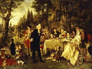 Wedding Party in the Garden of Fontainebleau by Carl Herpfer