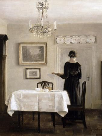 Interior with Lady Carrying Tray,C.1905