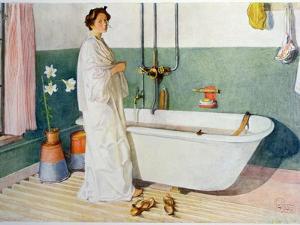 Bathroom Scene - Lisbeth, Pub. in 'Lasst Licht Hinin' by Carl Larsson
