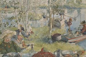 Crayfishing, from 'A Home' series, c.1895 by Carl Larsson