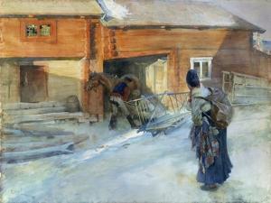 Farm in Winter, Bingsjo by Carl Larsson