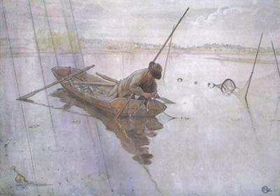 Johan Catching a Fine Pike by Carl Larsson