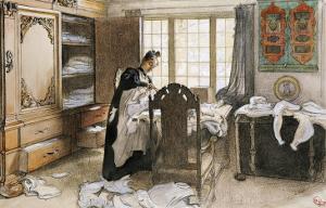 Karin by the Linen Cupboard (Karin Vid Linneskapet), 1906 by Carl Larsson