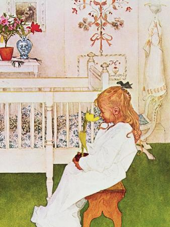Lisbeth with a Yellow Tulip by Carl Larsson