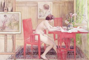 Model Writing Postcards, 1906 by Carl Larsson
