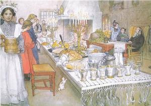 On Christmas Eve, the Huge Long Table in the Big Hall Is Absolutely Covered with the Food by Carl Larsson