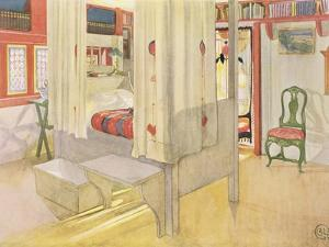 """The Bedroom, Published in """"Lasst Licht Hinin,"""" 1909 by Carl Larsson"""