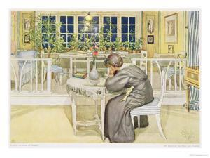 """The Evening Before the Journey to England - Study Room, Published in """"Lasst Licht Hinin"""" by Carl Larsson"""