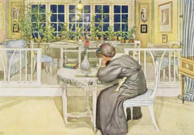 "The Evening Before the Journey to England - Study Room, Published in ""Lasst Licht Hinin"" by Carl Larsson"