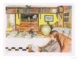 """The Reading Room, Published in """"Lasst Licht Hinin"""",(""""Let in More Light"""") 1909 by Carl Larsson"""