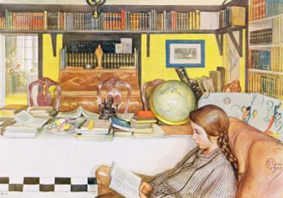 "The Reading Room, Published in ""Lasst Licht Hinin"",(""Let in More Light"") 1909 by Carl Larsson"
