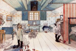 The Room of Mammy and the Small Girls by Carl Larsson