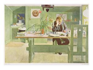 """The Study Room, Published in """"Lasst Licht Hinin,"""" (""""Let in More Light"""") 1908 by Carl Larsson"""