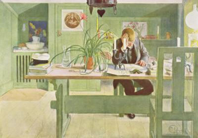 "The Study Room, Published in ""Lasst Licht Hinin,"" (""Let in More Light"") 1908 by Carl Larsson"