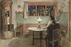 When the Children have Gone to Bed, from 'A Home' series, c.1895 by Carl Larsson
