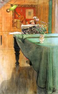 Young Girl at a Grand Piano by Carl Larsson