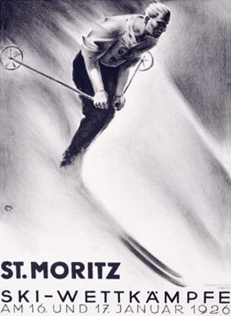 St. Moritz, Ski by Carl Moos