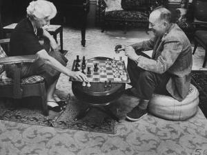 Author Vladimir Nabokov Playing Chess with His Wife by Carl Mydans