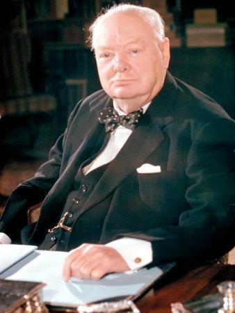 British Politican Sir Winston Churchill, Formal Portrait at Desk