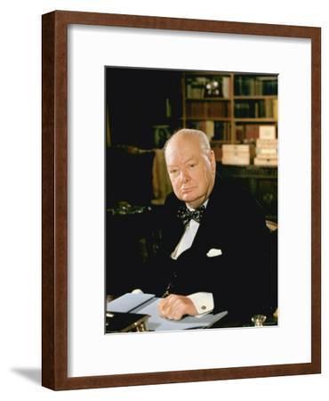 British Politician Sir Winston Churchill, Formal Portrait at Desk