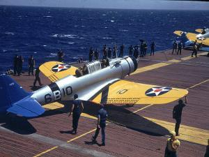 Douglas Tbd Torpedo Bomber Taxing to Parking Area Aboard the Aircraft Carrier Uss Entrprise by Carl Mydans