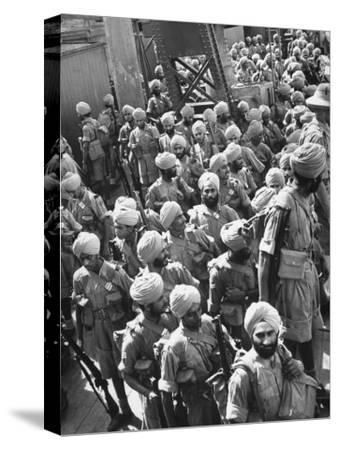 The Indian Sikh Troops from Punjab, Boarding the Troop Transport in the Penang Harbor