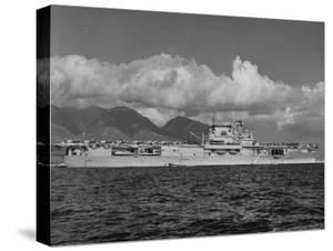 """US Navy Aircraft Carrier """"Enterprise"""" During Maneuvers in Hawaii by Carl Mydans"""