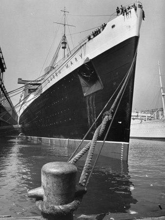 View of the Queen Mary Docked in New York City After It's Arrival