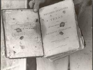 "View Showing ""Judge"" Roy Bean's Law Books by Carl Mydans"