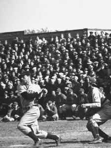 Yankees Joe Dimaggio at Bat. Yankees Vs. Brooklyn Dodgers by Carl Mydans