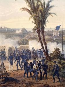 Battle of Veracruz, General Scott's Troops Attacking and Capturing City, 1847, Mexican-American War by Carl Nebel