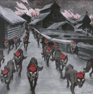 The Red Guard, the Communists Depicted as a Pack of Wolves Ravening with Glowing Eyes by Carl O. Petersen