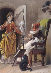 Sleeping Beauty: Aged 15, The Princess Meets an Old Woman Spinning by Carl Offterdinger