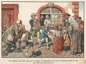 Crown Prince Frederick of Prussia Giving Bread to the Poor by Carl Rochling